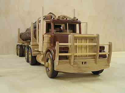 """Peterbilt logging truck. 38"""" long. Constructed with white beech and ..."""